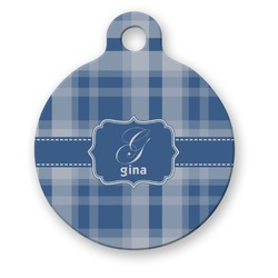 Plaid Round Pet ID Tag (Personalized)