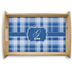 Plaid Natural Wooden Tray (Personalized)