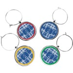 Plaid Wine Charms (Set of 4) (Personalized)