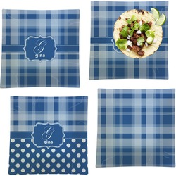 """Plaid Set of 4 Glass Square Lunch / Dinner Plate 9.5"""" (Personalized)"""
