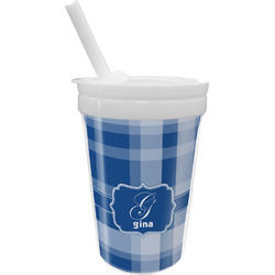 Plaid Sippy Cup with Straw (Personalized)