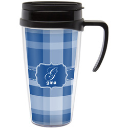 Plaid Travel Mug with Handle (Personalized)