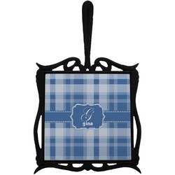 Plaid Trivet with Handle (Personalized)