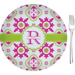 "Suzani Floral Glass Appetizer / Dessert Plates 8"" - Single or Set (Personalized)"