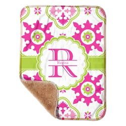 """Suzani Floral Sherpa Baby Blanket 30"""" x 40"""" (Personalized)"""