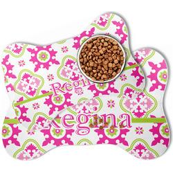 Suzani Floral Bone Shaped Dog Food Mat (Personalized)