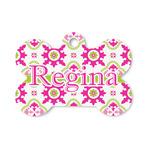 Suzani Floral Bone Shaped Dog ID Tag (Personalized)