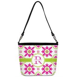 Suzani Floral Bucket Bag w/ Genuine Leather Trim (Personalized)