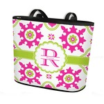 Suzani Floral Bucket Tote w/ Genuine Leather Trim (Personalized)