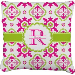 Suzani Floral Faux-Linen Throw Pillow (Personalized)