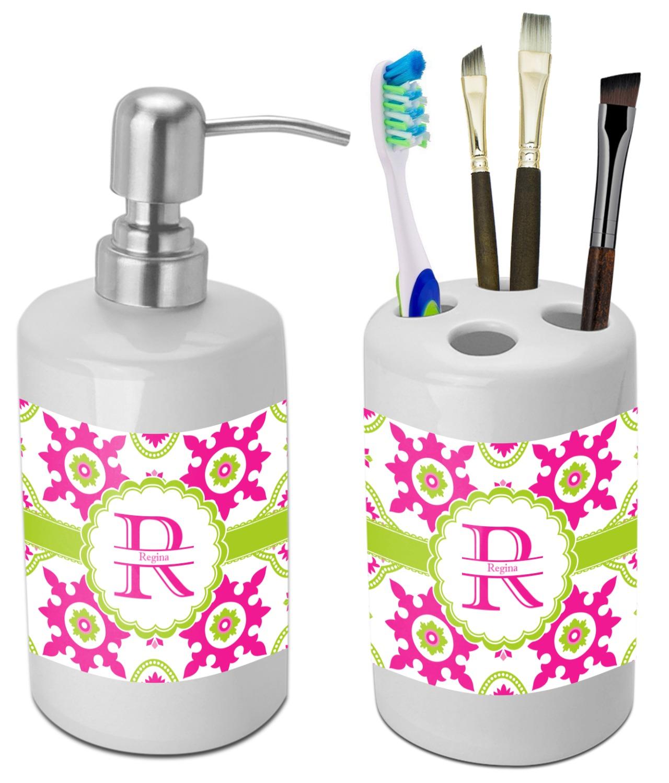 Suzani floral bathroom accessories set ceramic for Floral bath accessories