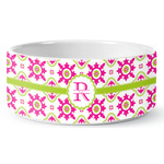 Suzani Floral Ceramic Dog Bowl (Personalized)