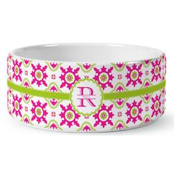 Suzani Floral Ceramic Dog Bowl (Personalized)