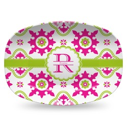 Suzani Floral Plastic Platter - Microwave & Oven Safe Composite Polymer (Personalized)