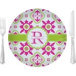 "Suzani Floral Glass Lunch / Dinner Plates 10"" - Single or Set (Personalized)"
