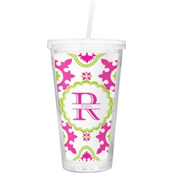 Suzani Floral Double Wall Tumbler with Straw (Personalized)