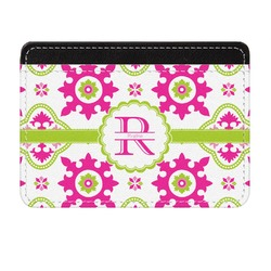 Suzani Floral Genuine Leather Front Pocket Wallet (Personalized)