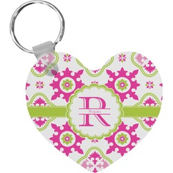 Suzani Floral Heart Keychain (Personalized)
