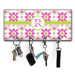 Suzani Floral Key Hanger w/ 4 Hooks w/ Name and Initial