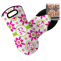 Suzani Floral Neoprene Oven Mitts w/ Name and Initial