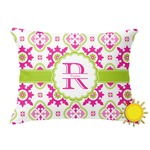 Suzani Floral Outdoor Throw Pillow (Rectangular) (Personalized)