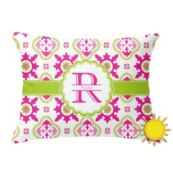Suzani Floral Outdoor Throw Pillow (Rectangular) (Personalized)
