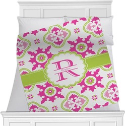 """Suzani Floral Fleece Blanket - Queen / King - 90""""x90"""" - Double Sided (Personalized)"""