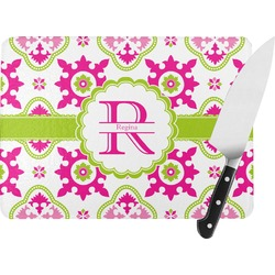 Suzani Floral Rectangular Glass Cutting Board (Personalized)