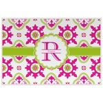 Suzani Floral Laminated Placemat w/ Name and Initial