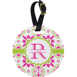 Suzani Floral Plastic Luggage Tag - Round (Personalized)