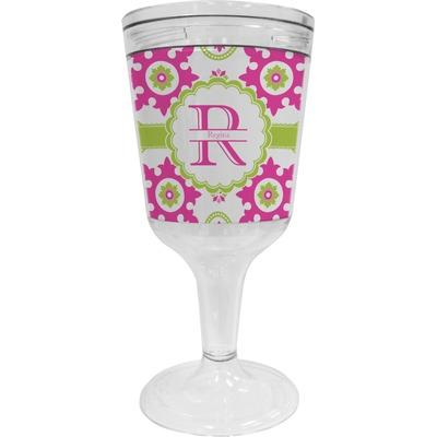 Suzani Floral Wine Tumbler - 11 oz Plastic (Personalized)