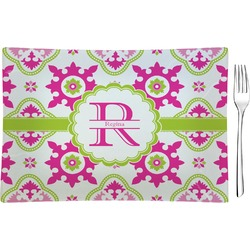 Suzani Floral Glass Rectangular Appetizer / Dessert Plate - Single or Set (Personalized)
