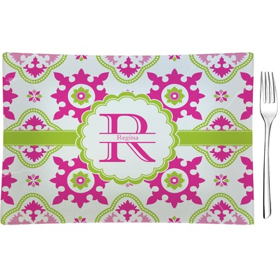 Suzani Floral Rectangular Glass Appetizer / Dessert Plate - Single or Set (Personalized)