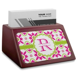 Suzani Floral Red Mahogany Business Card Holder (Personalized)