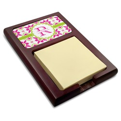 Suzani Floral Red Mahogany Sticky Note Holder (Personalized)