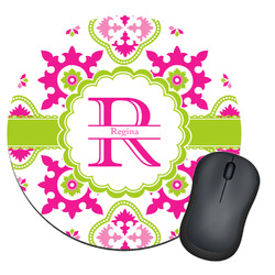 Suzani Floral Round Mouse Pad (Personalized)
