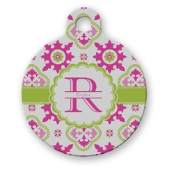 Suzani Floral Round Pet Tag (Personalized)