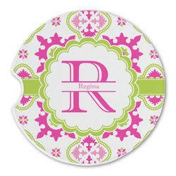 Suzani Floral Sandstone Car Coasters (Personalized)
