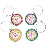 Suzani Floral Wine Charms (Set of 4) (Personalized)