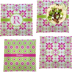 """Suzani Floral Set of 4 Glass Square Lunch / Dinner Plate 9.5"""" (Personalized)"""