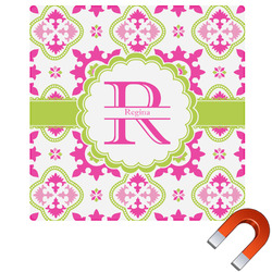 "Suzani Floral Square Car Magnet - 6"" (Personalized)"