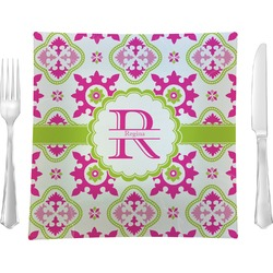 "Suzani Floral 9.5"" Glass Square Lunch / Dinner Plate- Single or Set of 4 (Personalized)"