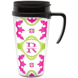 Suzani Floral Travel Mug with Handle (Personalized)