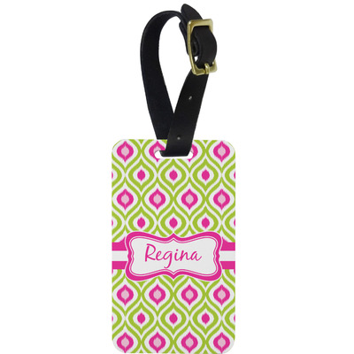 Ogee Ikat Metal Luggage Tag w/ Name or Text