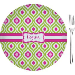 "Ogee Ikat 8"" Glass Appetizer / Dessert Plates - Single or Set (Personalized)"