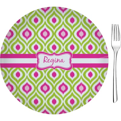"""Ogee Ikat 8"""" Glass Appetizer / Dessert Plates - Single or Set (Personalized)"""