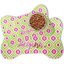 Ogee Ikat Bone Shaped Dog Food Mat (Personalized)