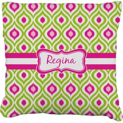 """Ogee Ikat Faux-Linen Throw Pillow 16"""" (Personalized)"""