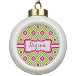 Ogee Ikat Ceramic Ball Ornament (Personalized)