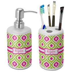 Ogee Ikat Bathroom Accessories Set (Ceramic) (Personalized)